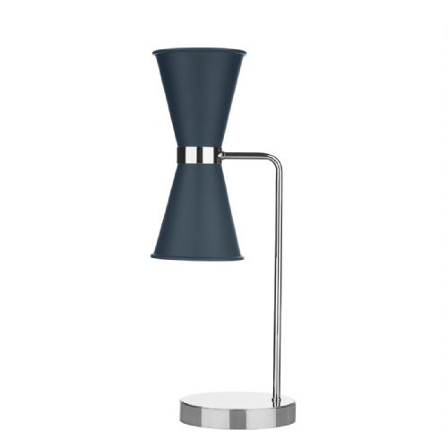 Hyde Table Lamp Chrome + Smoke Blue Metal Shade HYD4223C (7-10 day Delivery)